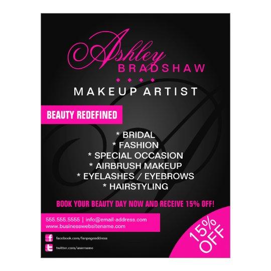 Hair And Makeup Artist Monogram Promotional Flyer Zazzle