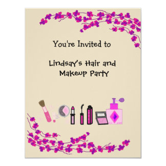 Hair and Makeup Party Card