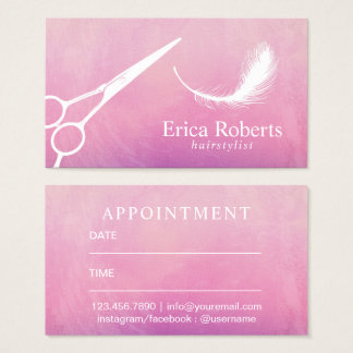 Hair Appointment | Scissor & Feather Watercolor Business Card