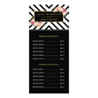 Hair Beauty Salon Gold Floral Stripes Price List