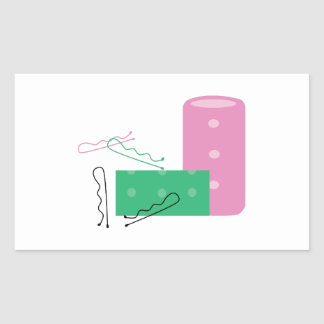 Hair Curlers Rectangular Sticker