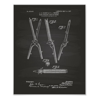 Hair Curling Iron 1907 Patent Art Chalkboard Poster