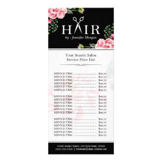 Hair Cut Scissors Logo Beautiful Floral Price List Custom Rack Cards