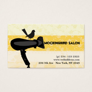 Hair Dryer Mocking Bird Salon Floral  Appointment Business Card