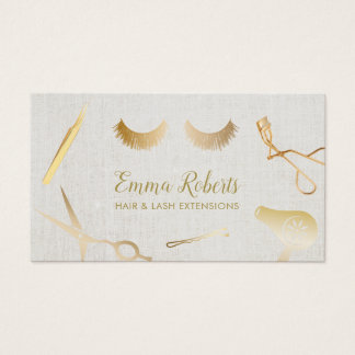 Hair & Eyelash Extensions Beauty Salon Linen Business Card