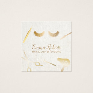 Hair & Eyelash Extensions Makeup Artist Linen Square Business Card