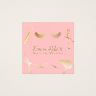 Hair & Eyelash Extensions Modern Blush Pink & Gold Square Business Card