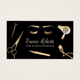 Hair & Lash Extensions Modern Black & Gold Business Card