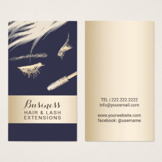 Hair & Lash Extensions Salon Modern Blue & Gold Business Card