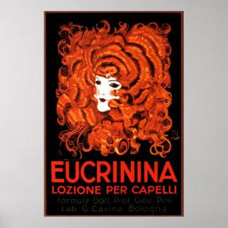 Hair Lotion, Italy, Eucrinina Vintage Advertising Poster