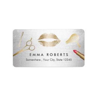 Hair & Makeup Beauty Salon Modern Gold & Silver Address Label