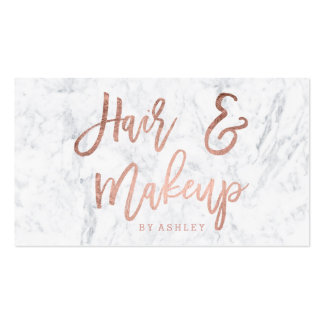 Hair Makeup script rose gold typography marble Pack Of Standard Business Cards