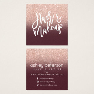 Hair makeup typography rose gold burgundy square business card