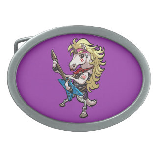 Hair Metal Glam Unicorn With Star Guitar Cartoon Belt Buckle