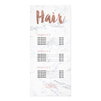 Hair modern gold typography marble price list 10 cm x 23 cm rack card