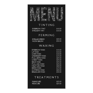Hair Nail Salon Beautician Menu Price List Personalized Rack Card