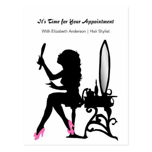 Hair Salon Appointment Reminder Girly Hair Stylist Post Card