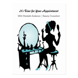 Hair Salon Appointment Reminder Teal Girly Girl Postcard