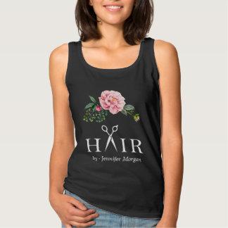 Hair Salon Business Identity Floral Scissors Logo Basic Tank Top
