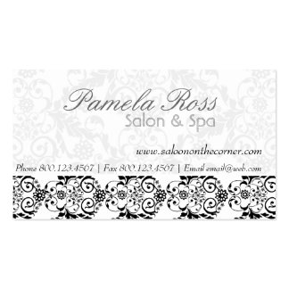Hair Salon Elegant Damask Business Card Template