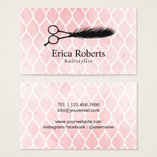 Hair Salon Feather Scissor Logo Watercolor Business Card