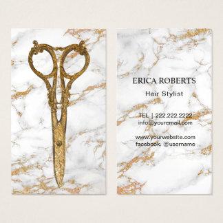 Hair Salon Gold Antique Scissor Trendy Marble #2 Business Card