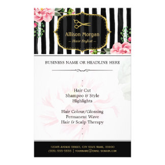 Hair Salon Gold Glitter Black White Floral 14 Cm X 21.5 Cm Flyer