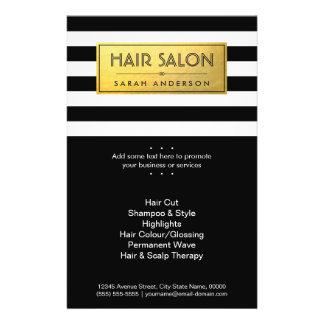 HAIR SALON - Gold Label and Black White Stripes 14 Cm X 21.5 Cm Flyer