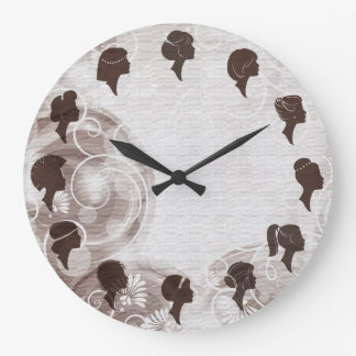 Hair Salon Hairdresser Elegant Brown Clock
