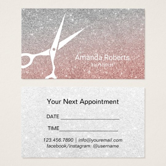 Hair Salon Rose Gold & Silver Glitter Appointment Business Card