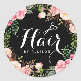 Hair Salon Stylist Typography Floral Wrapping Classic Round Sticker