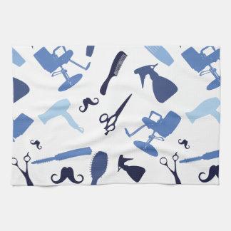 Hair salon tools pattern tea towel