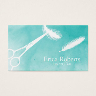 Hair Scissor & Feather Watercolor Appointment Business Card