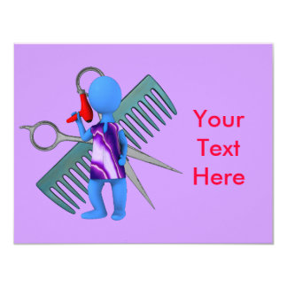 Hair Stylist 11 Cm X 14 Cm Invitation Card