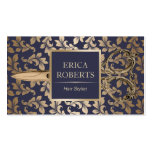Hair Stylist Antique Gold Scissor Luxury Damask Pack Of Standard Business Cards
