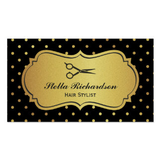 Hair Stylist - Black and Gold Glitter Polka Dots Business Cards