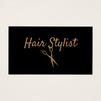 Hair Stylist - Black and Gold Scissors Business Card
