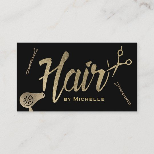 Hair stylist black gold typography beauty salon business card hair stylist black gold typography beauty salon business card reheart Gallery