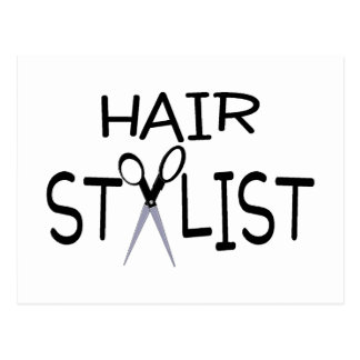Hair Stylist Black With Scissors Postcard
