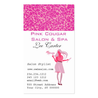 Hair Stylist & Blow Dryer Pink Cougar Beauty  Girl Pack Of Standard Business Cards