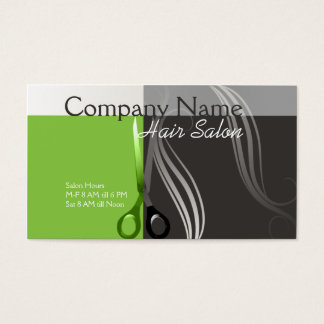 Hair Stylist business card- Green and grey design Business Card