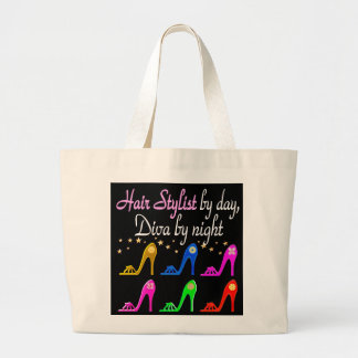 HAIR STYLIST BY DAY DIVA BY NIGHT LARGE TOTE BAG