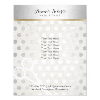 Hair Stylist Chic Silver Dots Elegant Linen Flyer