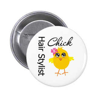 Hair Stylist Chick Buttons