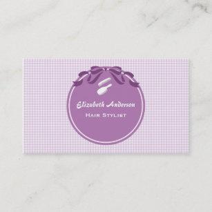 Hair bow business cards zazzle au hair stylist country style purple gingham and bow business card colourmoves