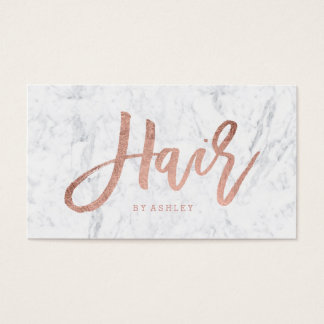 Hair stylist elegant rose gold typography marble