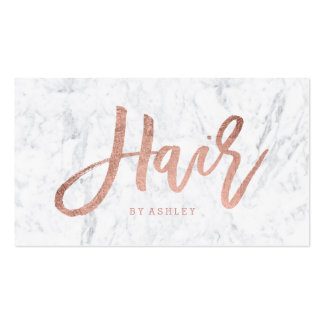 Hair stylist elegant rose gold typography marble pack of standard business cards