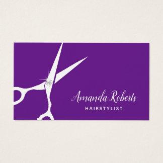Hair Stylist Fashion Cut Modern Purple Hair Salon Business Card