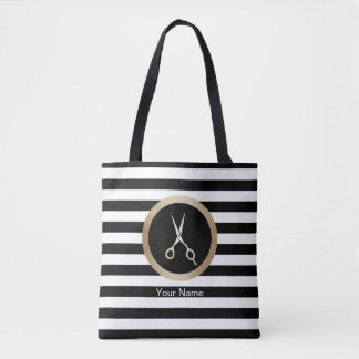 Hair Stylist Gold Scissor Modern Black Stripes Tote Bag