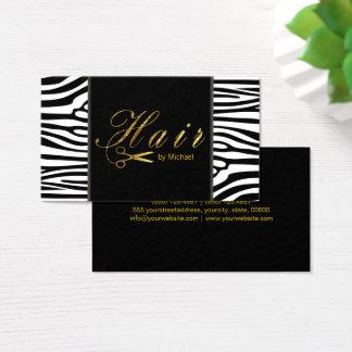 Hair Stylist Gold Scissors Script Modern Zebra